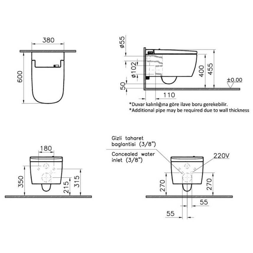 Votra V-Care technische montage tekening