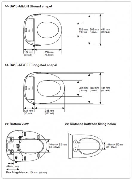 Coway-BA13-Technische-Tekening-Montage-Douchewc