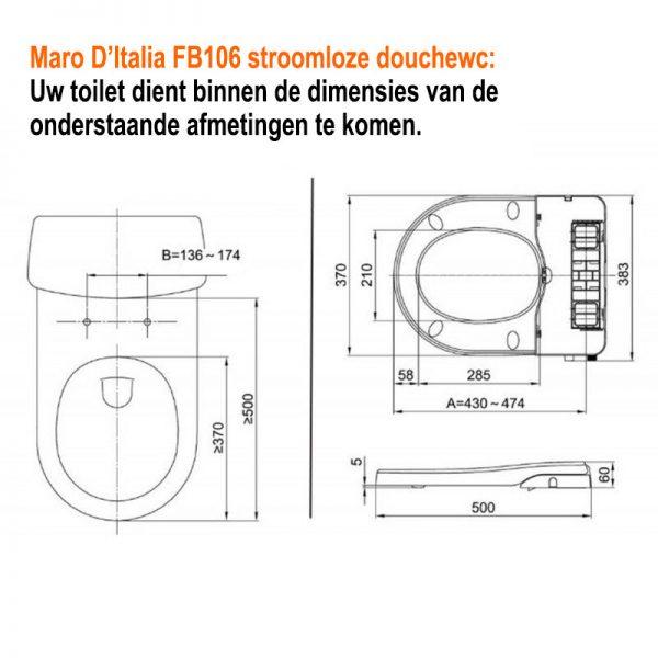 Maro-FB106-stroomloze-douchewc-technische-tekening