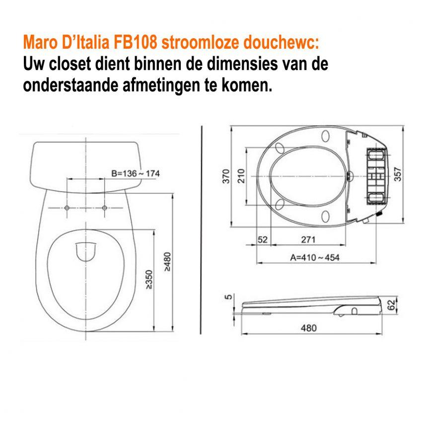 Technische tekening montage Maro FB108 douchewc