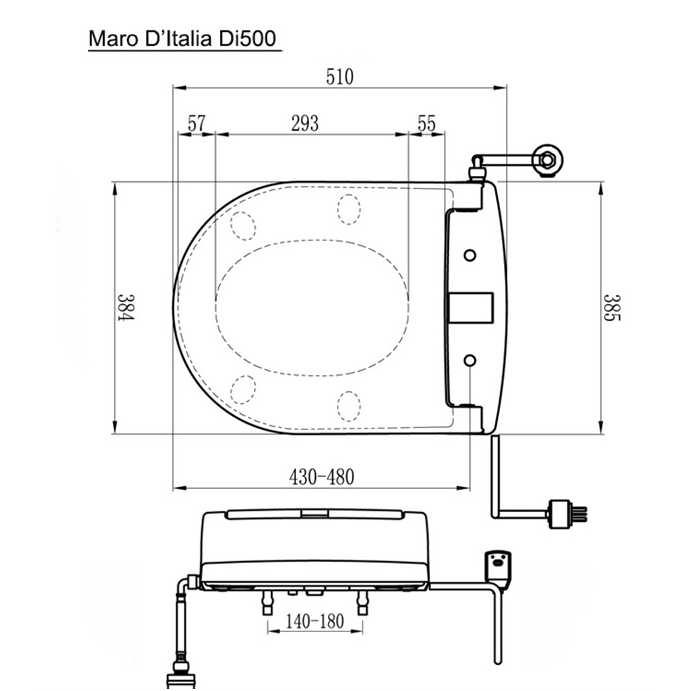 Maro DI500 verwarmde wc bril - technische tekening voor montage